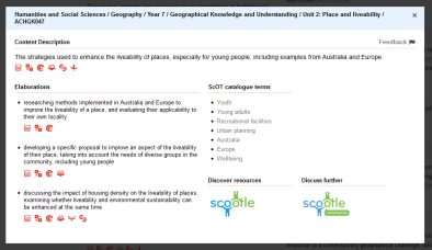 Geography 1 curriculum link - strategies